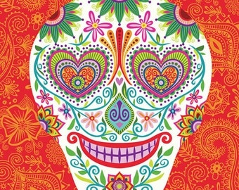 Dia de los Muertos Sugar Skull Art Print Lovestruck Skully on Red-Day of the Dead