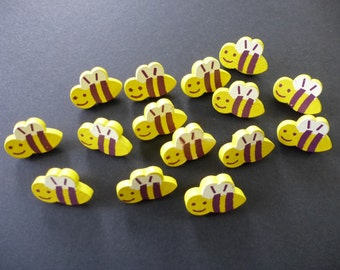 Wooden buttons with bumble bee design.  Set of 10