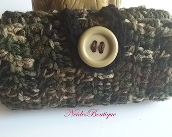 Camouflage wallet can be used as a picnic Wallet- Crochet phone case- Best Selling item- Market purse