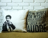 Audre Lorde Pillow White, Gray, Beige 100% cotton, 20 x 20, double-sided