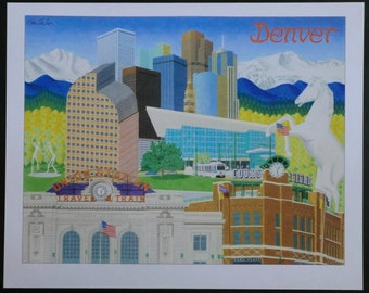 Detailed Denver landmarks drawing