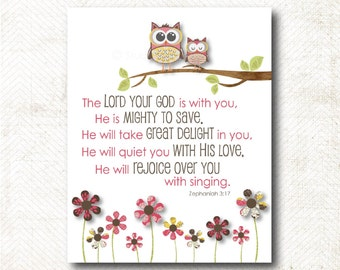 Instant Download | The Lord your God is with you. He is mighty to Save | Zephaniah 3:17 Art Print (C1)