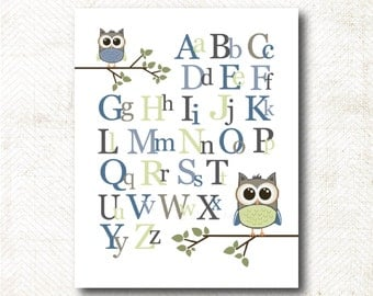 Instant Download | ABC's Nursery Art Print with owls (BOY95)