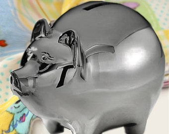 Deluxe Personalized Pewter Finish Piggy Bank - Engrave this Piggy Bank with a Name - A TOP Baby Shower Gift!