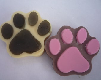 dog/cat paw print novelty soaps x 2