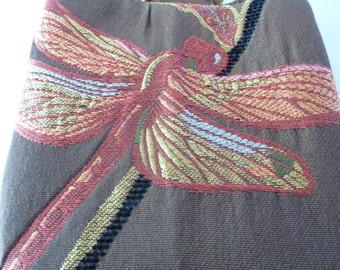 Red blue and green dragonflies soaring on brown crinkled decorator cotton with accents of black and a deep red silk interior is my Trio Bag