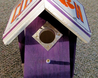 Clemson Tigers Birdhouse - License Plate Collegiate Birdhouse - Bird House - Team bird house - Clemson Bird House