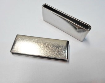 30mm Flat Bars, Stainless Steel 30mm Bar Sliders, Qty. 2,  Flat leather finding