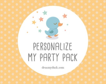 Dreamy Duck - Name Personalization for Premade Party Pack
