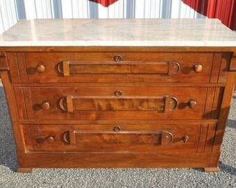 Antique Victorian Burl Walnut Dresser Marble Top Circa 1880