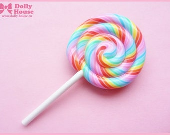 Rainbow Lollipop Candy Brooch by Dolly House
