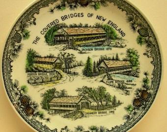 Vintage New England Souvenir Plate, Transferware, Covered Bridges