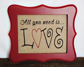 LOVE Burlap Wall Hanging/Valentine Wall Art/burlap print/burlap art/anniversary gift /wedding/bridal shower/home decor