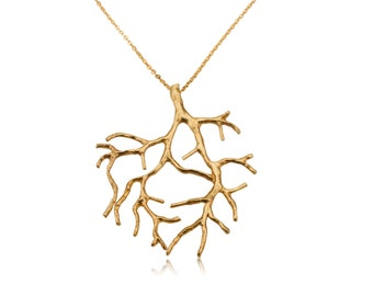 Roots Pendant,Roots Medallion. Roots of life necklace, Tree of life necklace made of  925 Silver plated with 24K Gold