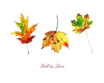"Printable Download ""Fall in Love"" Leaf Design, Fall Decor, Autumn Leaves Printable, Maple, Oak, Home Decor, Leaf Decor, Happy Fall"