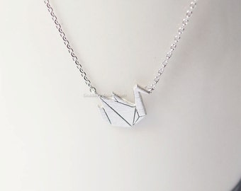 origami swan Necklace in silver, Paper swan necklace, bird necklace, necklace for women, Gift idea / wedding gifts / bridesmaid gifts
