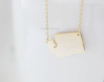 Washington State Necklace in Gold, WA state gold necklace, Seattle necklace