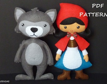PDF sewing patter to make a felt Little Red Riding Hood and a wolf.