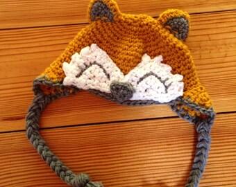 Crochet Fox Earflap Hat