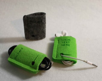 Personalized EARPHONE HOLDER - Wire holder in Felt Cable USB Charger Organizer Third free