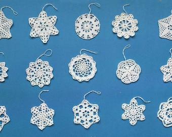 New 15 Crochet Snowflakes Ornaments