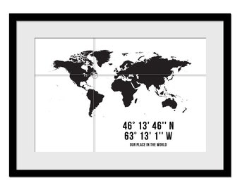 GPS Coordinates Art Print - Personalized Map - Customized Longitude Latitude - Custom Map - Custom Location Print - Housewarming Gift