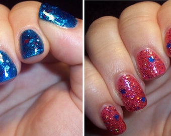 SALE--July 4th, 1776 Complete Nail Polish Duo -SET OF 2- (Independence Day Nail Polish,Gellie/Holo/Star Glitter Nail Polish,Beauty,Makeup)