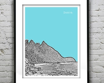 Samoa Skyline Poster City Art Print