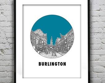 Burlington Vermont VT City Skyline Poster Print Art Church Street Round Version 4