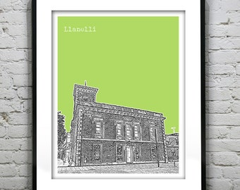 LLanelli Wales Poster Art Print Uk Wales United Kingdom