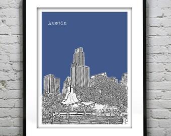 Austin Poster Skyline Poster Art Print Texas TX Version 4