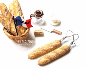 Baguette Dangle Silver Earrings French Bread miniature food jewelry paris french Long Earrings