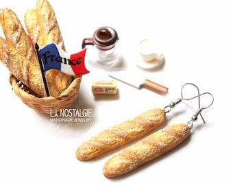 Baguette Dangle Silver Earrings French Bread miniature food jewelry paris french Long Earrings