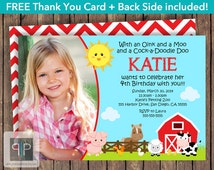 Farm Animals Birthday Invitation, Girl Petting Zoo Invitation, Girl Farm Invitation, Farm Chevron, Free Thank You Card, Printable Invitation
