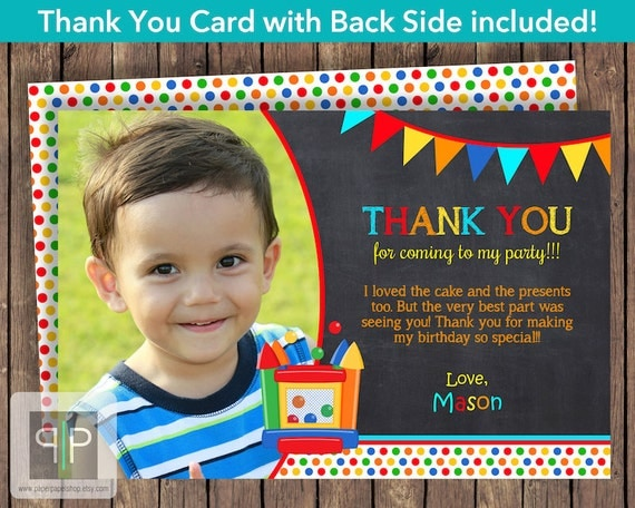 Thank You House: Items Similar To Bounce House Photo Thank You Card
