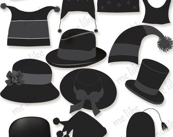 Digital Hats Clip Art -INSTANT DOWNLOAD-13 Individual Png Files -Clipart for Personal or Commercial Use  - 300 DPI Embellishment-Silhouette