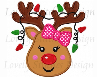 Reindeer Girl Applique Machine Embroidery Design NO:0268