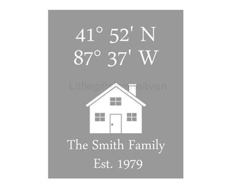 Personalized Family Est Latitude Longitude Print- first house wall art, housewarming gift, gift for newlywed, new home canvas, latitude long