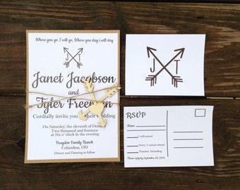 Arrow Wedding invitation, Arrow Initials Wedding, Arrow Wedding twine