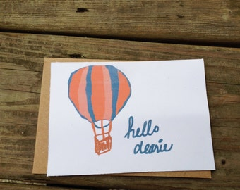 Hello Dearie Hot Air Balloon Stationery Paper goods note with kraft envelopes-10 pack