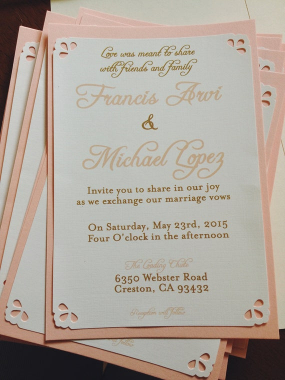 Peach and gold wedding invitations on ivory with kraft for Wedding invitations 50 cents each
