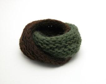 Double Mobius Bracelet in Vintage Loden & Seal Brown Wool