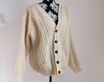 Vintage Beige Wool Cable-knit Cardigan
