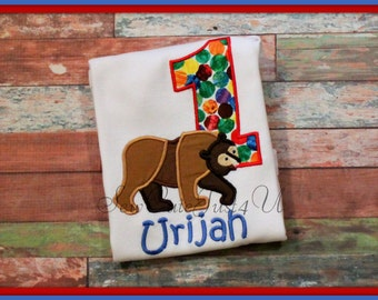 Brown Bear Themed Personalized Birthday Number Shirt