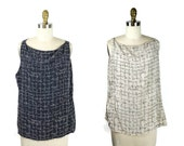 1980s Reversible Silk Blouse / 80s Navy and White Sleeveless Top