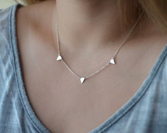 Tiny Triangle Necklace, Gold Triangle Necklace, Geometric Minimalist Jewelry