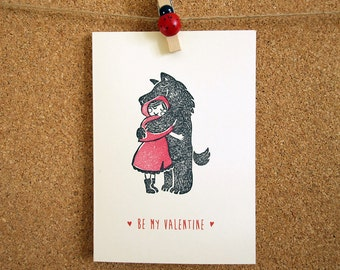 little red riding hood and the wolf  Valentines day / Engagement / Show your love / Anniversary card