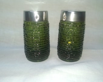 Vintage Handblown Olive Green Glass Salt & Pepper Shakers