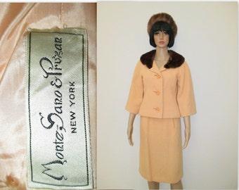1960's Monte Sano & Pruzan Suit, Jackie Kennedy, Mad Men style suit, Peach 60's suit