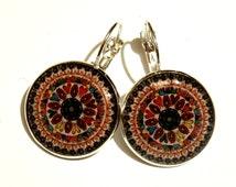 Mandala earrings, handmade ring, hippie jewelry, mandala jewelry, indian jewellery, antique brass earrings, statement earrings, gift for her